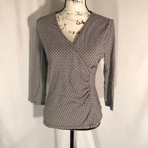 Talbots Womans V-Neck 3/4 Sleeve Stretchy Blouse S